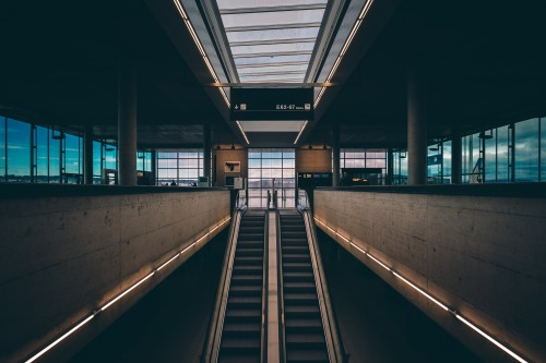 Escalator in train station